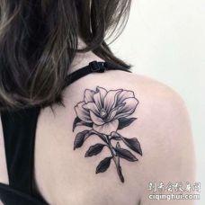 点线后背花卉纹身图案