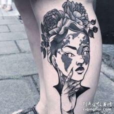 点线小腿女人纹身图案
