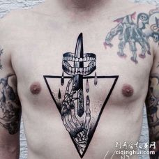 几何 胸口 骷髅 匕首
