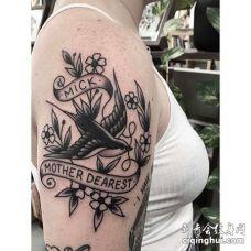 Old School大臂燕子纹身图案