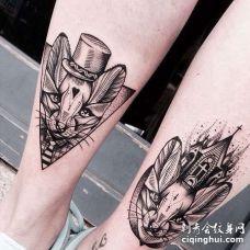 小腿肚点刺线条猫咪纹身图案