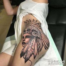 写实大腿印第安女人纹身图案