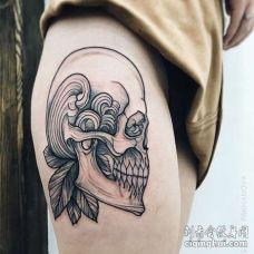 点线大腿骷髅纹身图案