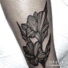 点线小腿花卉纹身图案
