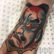 日式脚背武士纹身图案