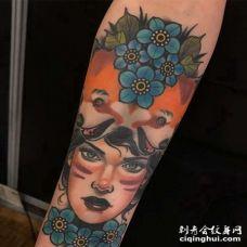 New School小臂狐狸人像花卉纹身图案