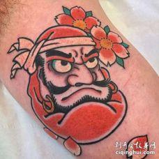 日式大臂达摩蛋纹身图案