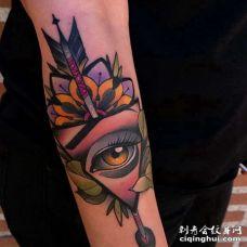 New School小臂眼睛纹身图案