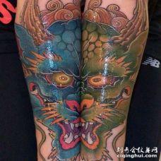 新传统小臂龙纹身图案