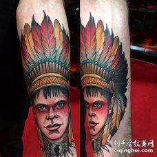 New School小臂人像纹身图案