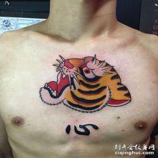 日式前胸老虎纹身图案