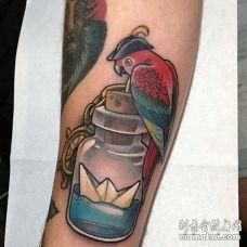 New School小腿鹦鹉瓶子纹身图案