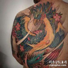 新传统后背凤凰纹身图案
