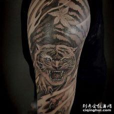新传统大腿老虎纹身图案
