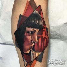 New School小腿人像纹身图案