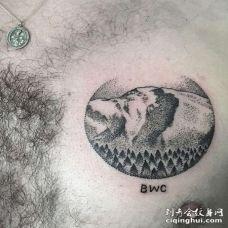 点刺前胸雪山纹身图案