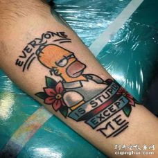 Old School小臂辛普森纹身图案