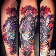 日式小臂老鼠纹身图案