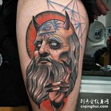 New School大腿人像纹身图案