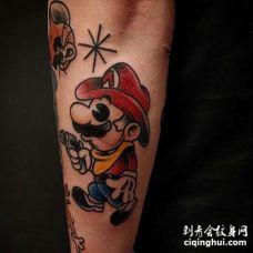 卡通小臂超级玛丽纹身图案
