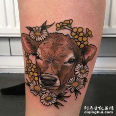 New School小腿鹿纹身图案