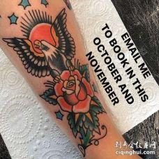 Old School小腿老鹰玫瑰纹身图案