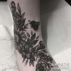 New School脚踝向日葵纹身图案