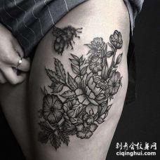 New School大腿玫瑰蜜蜂纹身图案