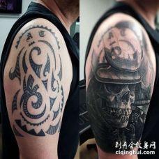 写实大臂鬼武士纹身图案