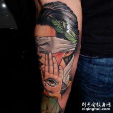 New School小臂女人纹身图案
