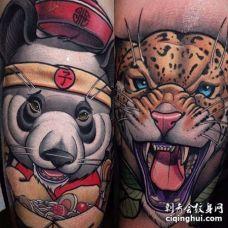 New School大腿熊猫豹子纹身图案