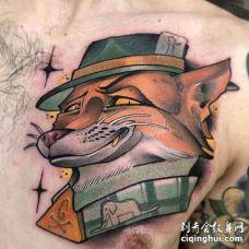 New School前胸狐狸纹身图案