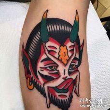 Old School小腿恶魔女人纹身图案