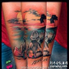 New School小臂沙滩纹身图案