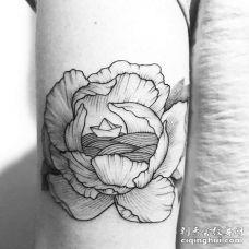 线条小腿花卉纹身图案