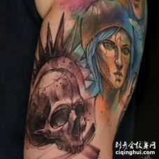 水彩大臂女人骷髅纹身图案