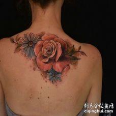 水彩后背玫瑰纹身图案
