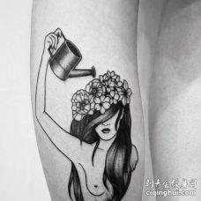 小清新小腿人像花卉纹身图案