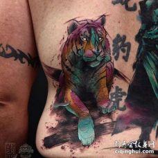 水彩后背老虎纹身图案