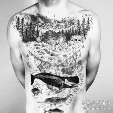 点线几何胸前鲸鱼山纹身图案