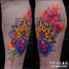 水彩小腿繁花纹身图案