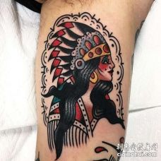 Old School大臂印第安女人纹身图案