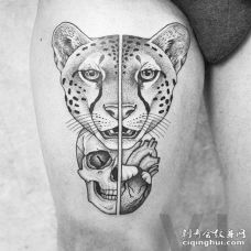 点刺几何线条侧腰豹子骷髅心脏纹身图案