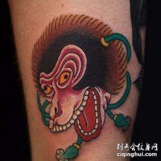日式大腿猴子纹身图案