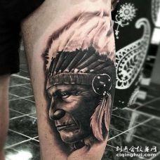 写实大腿人像纹身图案