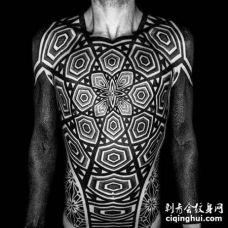 点刺几何前胸肚子胳膊纹身图案