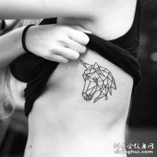 小清新几何侧腰马纹身图案