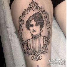 点线小臂女人纹身图案