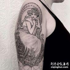 点线大臂女人纹身图案