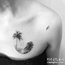 小清新锁骨海椰子树纹身图案